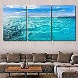 QWASD Moderno Cuadros De Pintura Mural 3 Partes Pintura Decorativa Lienzo Naturaleza Cubana Caribeña Giclée Obra De Arte para Dormitorio, Sala De Estar Decoración Cálida