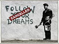 ポスター バンクシー Follow Your Dreams 額装品 アルミ製ベーシックフレーム(ライトブロンズ)