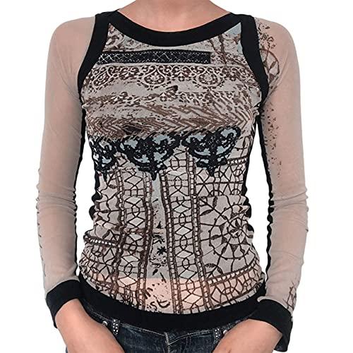 Pabuyafa Y2k - Camiseta de manga larga para mujer con diseño gráfico recortado, estilo vintage de los años 90, Negro albaricoque, L