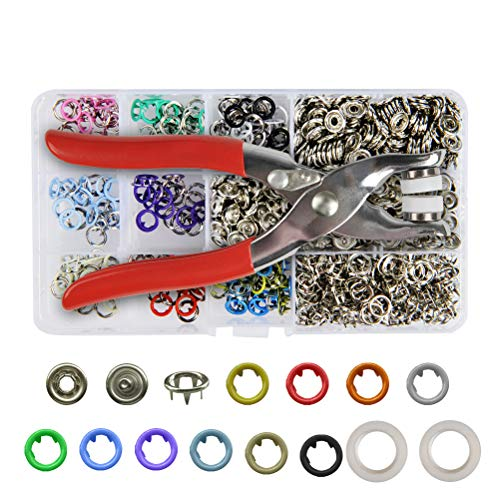 YANSHON 200 Set Grommets Snap Fasteners Kit Leather Rivets Buttons Metal Press Studs 9.5mm 10 Colors Environmentally Metal Prong Ring Button for Leather, Coat, Down Jacket, Jeans, Clothing