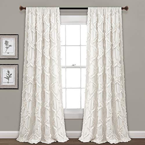 "Lush Decor 16T004115, White Ruffle Diamond Curtains Textured Window Panel Set for Living, Dining Room, Bedroom (Pair), 95"" x 54, 95"" x 54"""