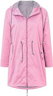 NRUTUP Fashion Women's Solid Rain Jacket Outdoor Jackets Waterproof Hooded Raincoat Windproof