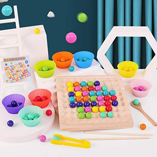 Holz Clip Beads Brettspiel, Wooden Go Spiele Set, Clip Perlen Spiel Puzzle Board - Montessori Pädagogisches Holzspielzeug,Holz Clip Perlen Regenbogen Spielzeug - Puzzle Brettspiel (A)