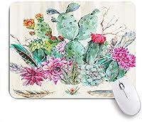 VAMIX マウスパッド 個性的 おしゃれ 柔軟 かわいい ゴム製裏面 ゲーミングマウスパッド PC ノートパソコン オフィス用 デスクマット 滑り止め 耐久性が良い おもしろいパターン (自由奔放に生きるスタイルの羽を持つ水彩サボテンの花)