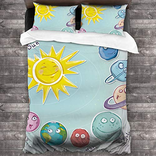 Duvet Cover Set 3 PCS,Space,Cute Cartoon Sun And Planets Of Solar System Fun Celestial Chart Baby Kids Nursery Theme,Bedding Duvet Cover with 2 Pillowcases(Double 200x200cm)