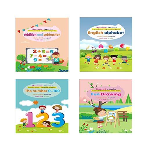 haptern Libro de rastreo de Letras para niños Cuadernos de práctica mágica Cuaderno de Ejercicios para Aprender a Escribir Letras y números práctica de Escritura a Mano para niños de 3 a 5 wondeful