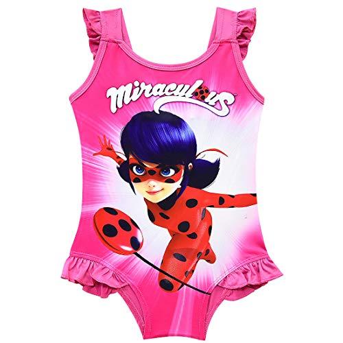 Trajes de Baño de Una Pieza para Niña Miraculous Ladybug Bañador Milagroso Chica Mariquita Mangas con Volantes/110