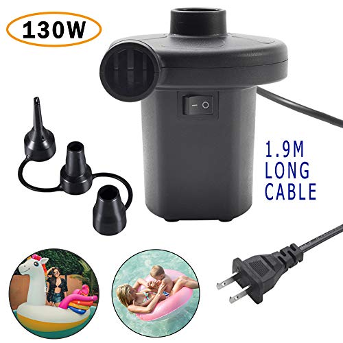 Buymax Electric Air Pump for Pool Inflatables Air Mattress Air Bed, 110V AC Boat Pool Raft Inflatable Pump with 3 Nozzles Black