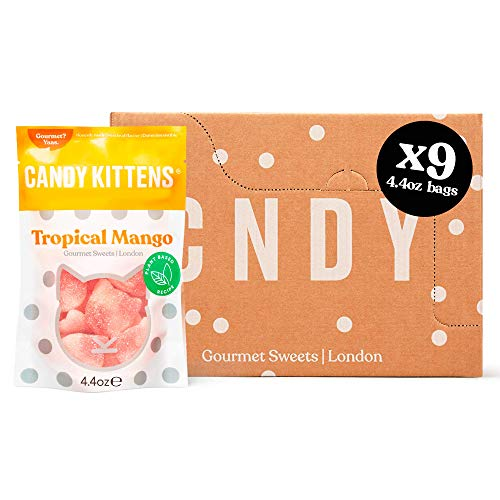 Candy Kittens Tropical Mango Plant Based Candy - Palm Oil Free, No Artificial Colors or Sweeteners, Natural Fruit Flavour Candy - Gummy Chewy Gourmet Sweets, 4.4 Ounce (Pack of 9)