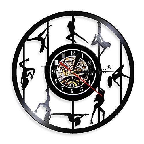 ZZLLL Pole Dancer Silueta Reloj de Pared Mujer Striptease Girl Reloj Hecho a Mano exótica Dama Recortada Reloj LP Decorativo-Sin LED