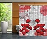 qhtqtt Duschvorhang Rote Mohnblumen Und Ziegel Abstrakte Kunst Modernes Dekor Bad Mohnblume Graue Dekorationen Für Zu Hause Duschvorhang 180X200Cm A