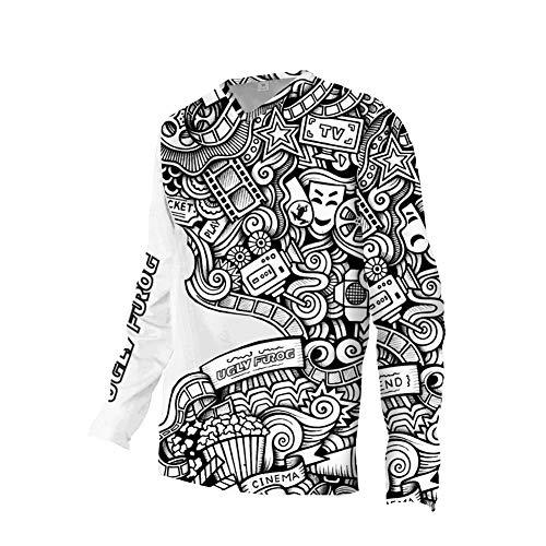 UGLY FROG Herren Besonderes Cooles Design Downhill Jersey/Jacken, MTB Männer T-Shirt,Mountainbike/Motocross Schnell-Trocknend Kurzarm/Lange Ärmel-Trikot, Enduro/Offroad/Quad Cross Kleidung