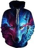 Imbry Herren Slim Fit Hoodie Long Sleeve Kapuzenpullover 3D Druck Muster Sweatshirt Pullover (2XL/3XL, Wolf2)