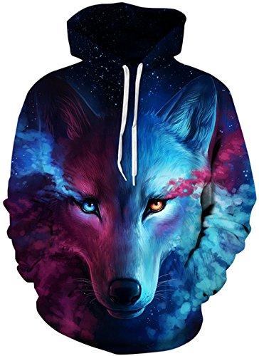 Imbry Herren Slim Fit Hoodie Long Sleeve Kapuzenpullover 3D Druck Muster Sweatshirt Pullover (S/M, Wolf2)
