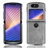 Ranyi Motorola Razr 5G Hülle, Motorola Razr 5G Lederhülle, ultra dünne Lederhülle, stoßdämpfend, R&umschutz, flexible Lederhülle, für Motorola Razr 5G 6,2 Zoll (2020), Grau