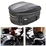 Motorcycle Tail Bag Seat Bag Waterproof Luggage Bag Motorbike Saddle Bags Multifunctional PU Leather Bike Bag Sport Backpack,15 Liters