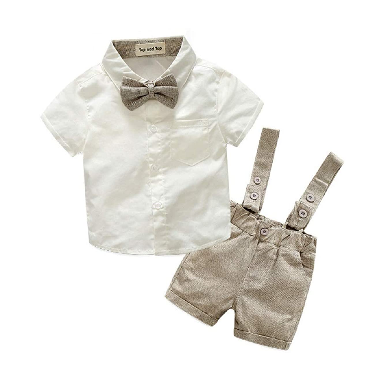 HZYBABY Toddler Boy Gentleman Outfits Suits Short Sleeve Bow Ties Shirts + Bid Pants