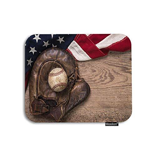 ELIST Mauspad, Baseballhandschuh mit amerikanischer Flagge auf Holzwand, 25 x 30 cm