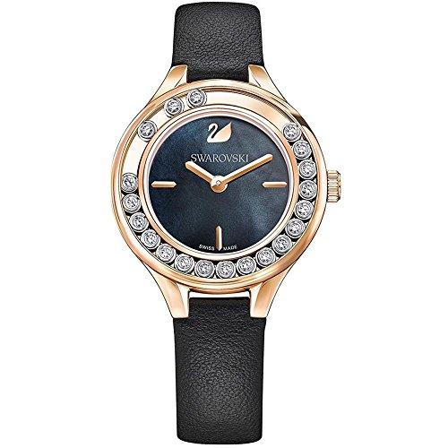 Swarovski Reloj de mujer cuarzo correa de cuero genuino color negro 5301877