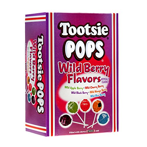 Tootsie Pops Assorted Wild Berry Flavors with Chocolatey Center, 3.75 Pound, 100 Count Giveaway Box, Peanut Free, Gluten Free