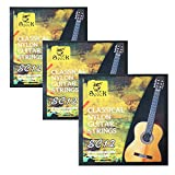 3 sets nylon classical guitar strings.nylon core. EBG - clear nylon DAE - Silver-plated copper alloy wound .028-.043
