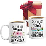 Promoted to Grandma Grandpa Coffee Mug Set, Pregnancy announcement. Great Grandpa Mug. Great Grandma Mug. Great Grandparents Gift. Grandparent Mug Set of 2 Shot Mugs (White)