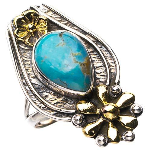 StarGems Anillo de plata de ley 925 de dos tonos naturales de turquesa hecho a mano con flores P D9215