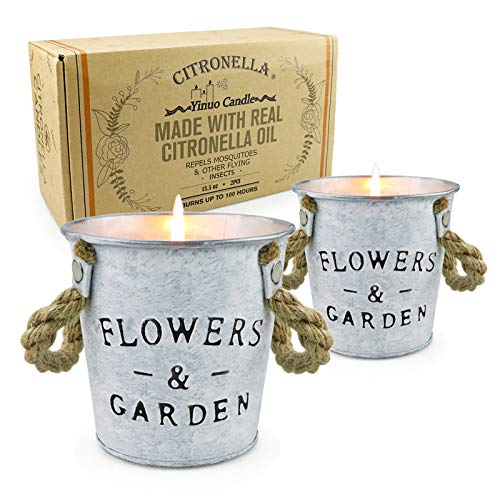 Citronella Candles Outdoor, 13.5 Oz Long Lasting Soy Candle Bucket with Fresh Citronella Oil for Bedroom Kitchen Garden Patio Balcony Indoor Outdoor Air Cleansing, 2 Pack
