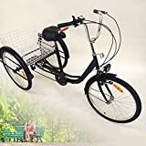 "OU BEST CHOOSE 24"" 3 Wheel Adult Tricycle with Lamp 6 Speed Bicycle"