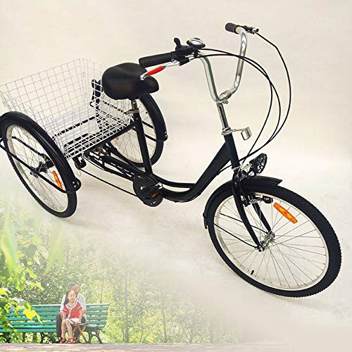 OU BEST CHOOSE 24' 3 Ruedas Triciclo Adulto con Bicicleta de 6 velocidades, Cesta de la Compra Trike Triciclo Pedal Bicicleta de Ciclismo, para IR de Compras al Aire Libre Picnic Deportes (Black)