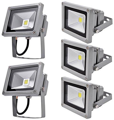 Leetop 5 x 10W Projecteur LED Lumière Spot Projecteur Extérieur Intérieur Blanc Froid Spot Mural Phare Projecteur Wassrdicht IP65