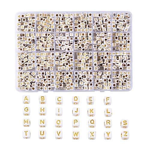 Cheriswely, 934 pezzi in oro bianco acrilico A-Z Lettera perline 6 mm Cubic Pony Alfabeto distanziatori per nome, bracciali, collane, creazione di gioielli