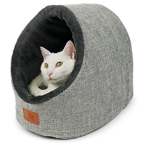 SCHLITZOHR Katzenhöhle Oskar | waschbare Premium Kuschelhöhle für Katzen & Hunde in edlem grau | inklusive extra gemütlichem Wendekissen