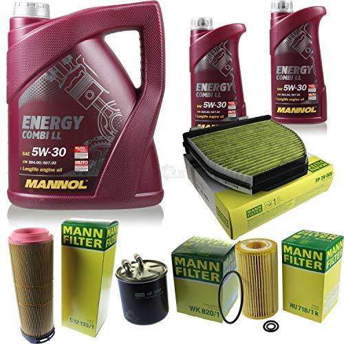 QR-Parts Set 85497459 MN7907-1 HU 718/1 k C 12 133/1 FP 29 005 MN7907-5 WK 820/1 7 L Energy Combi LL 5W-30 + MANN filtro paquete 10930128