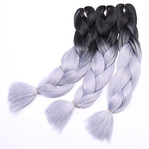Extension Treccine Ombre Treccia per Capelli Braiding Hair Braids Extensions 100g/pcs, Confezione da 3 Ciocche, Due Tonalità 28# Nero a Grigio Argento