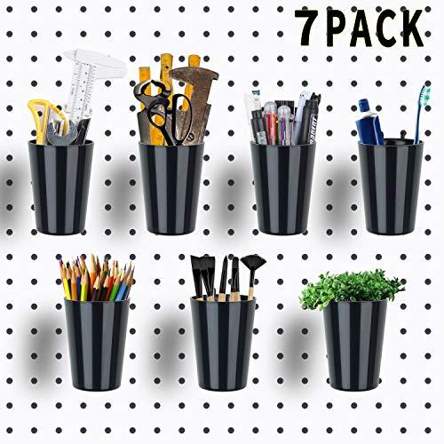 7 Sets Pegboard Cups, Pegboard Bins Plastic Pegboard Parts Storage Pegboard Accessories for Organizing Storage Black