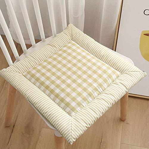 YUEXING Paquete de 4 Cojines para sillas Cojines para Asientos Cojines para sillas Cojines de Respaldo Alto Cojines para sillas de jardín de algodón y Lino con diseño de Dobladillo con Lazo