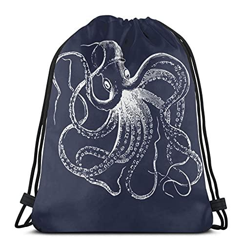 Mochila unisex con cordón, color azul marino, con diseño de pulpo clásico y rayas náuticas, ligera, para gimnasio, viajes, yoga, mochila de hombro, para senderismo, natación, playa, 16,5 x 36,1 cm