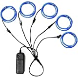 5in1 15Ft (5Pack 3Ft) Neon Strip Light Wire Kit, Ourbest EL Wire Neon Lights Kit El Wire w/Battery Pack for Cosplay Dress Halloween Christmas Party Decoration(Blue)