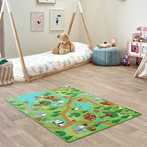 Carpet Studio Teppich Kinderzimmer 95x133cm, Spielteppich Straße Jungen & Mädchen für Schlafzimmer & Spielzimmer, Antirutsch, 30°C waschbar - Hiking