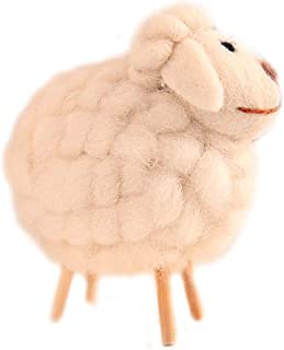 Wansan Christmas Ornament Sheep Pattern on Stick Legs with Wool Felt Country Rustic Decor