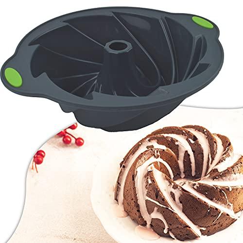 Bundt Cake Pan Nonstick, 10 Inch Non-stick Pan Bakeware Pound Cake Pan Silicone Pan Mould Baking Mold for Baking Pound Cake, Jelly, Birthday, Christmas, Party(Dark Gray + Green)