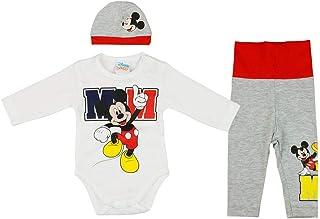 Babybogi Mickey Mouse Baby Kleidung 3 teilig | Body, Mütze und Hose | Größe 56 62 | Disney Baby Set für Jungs in bunt | Baby Outfit für Jungs 0-6 Monate