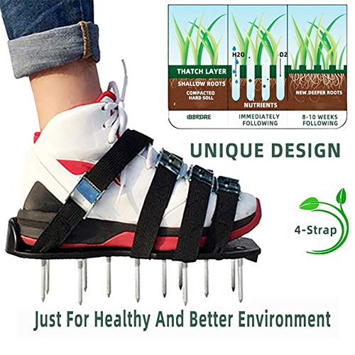 CWHALE Lawn Aerator Shoes, for Effectively Aerating Lawn Soil and A Healthier Yard Garden, with 4 Adjustable Straps Aerator Spiked Sandals, Universal Size,Black