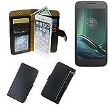 K-S-Trade Schutzhüll Für Lenovo Moto G (4. Gen.) Play Schutz Hülle Portemonnaie Hülle Phone Cover Slim Klapphülle Handytasche E Handyhülle Schwarz Aus Kunstleder (1 STK)