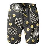 Raquettes de tennis et balles de tennis colorées drôles Shorts de plage confortables pour hommes Maillots de bain respirants Shorts à cordon ajustés Shorts d'été XL Shorts d'été Respirants Confortable