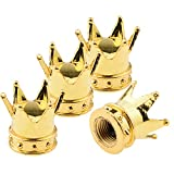 (Pack of 4) Gold 8mm Crown Tire/Wheel Rims Air Valve Stem Cap Compatible with Car Truck Hot Rod ATV