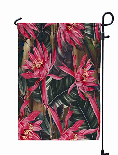 UIJDIAm Garden Flag Stand,Welcome Garden Flag Watercolor Pattern Tropical Leaves Palms Monstera Passion Fruit Beautiful Print Exotic Plants Swimwear 12X18 inches,Garden Flag Set,Black Green