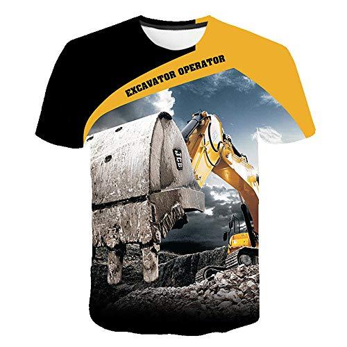 3D impresión Manga Corta Camiseta,Excavador Verano tee Shirt O-Cuello Cool Tops para Vacaciones de Verano de la Playa,2XL