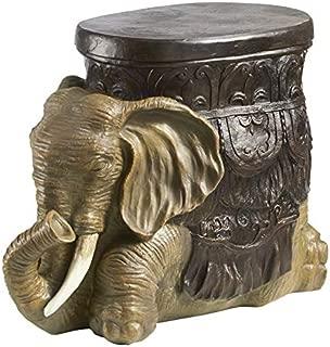 Design Toscano Sultans Elephant Boho Decor Side Table, 20 Inch, Polyresin, Woodtone